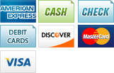 We accept American Express, Cash, Checks, Debit, Discover, MasterCard and Visa.